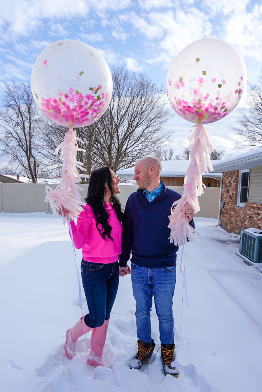 large pink balloons, large pink confetti balloons, blogger gender reveal