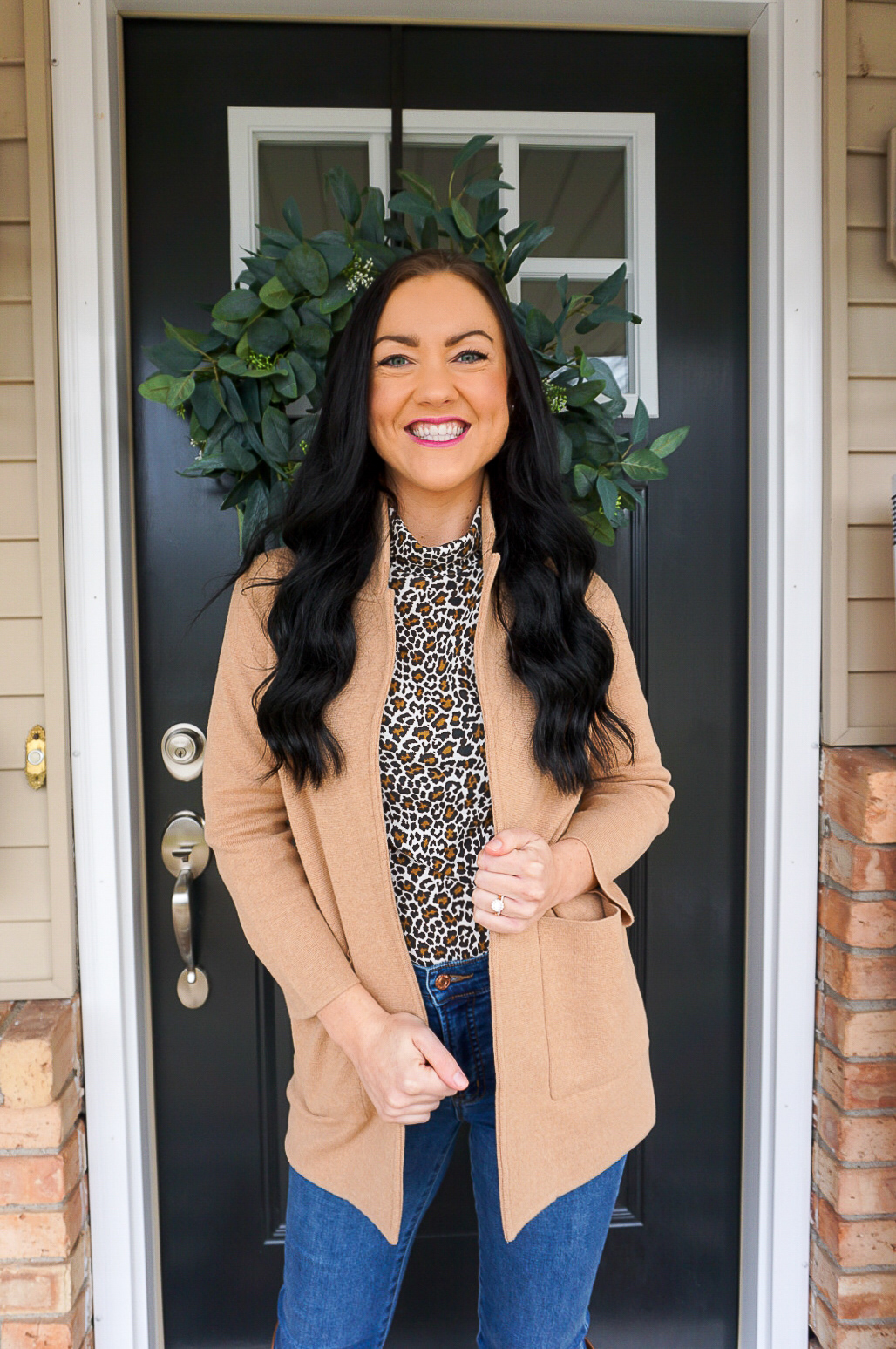 preppy blogger, front door blogger, leopard print winter outfit, preppy winter outfits for women