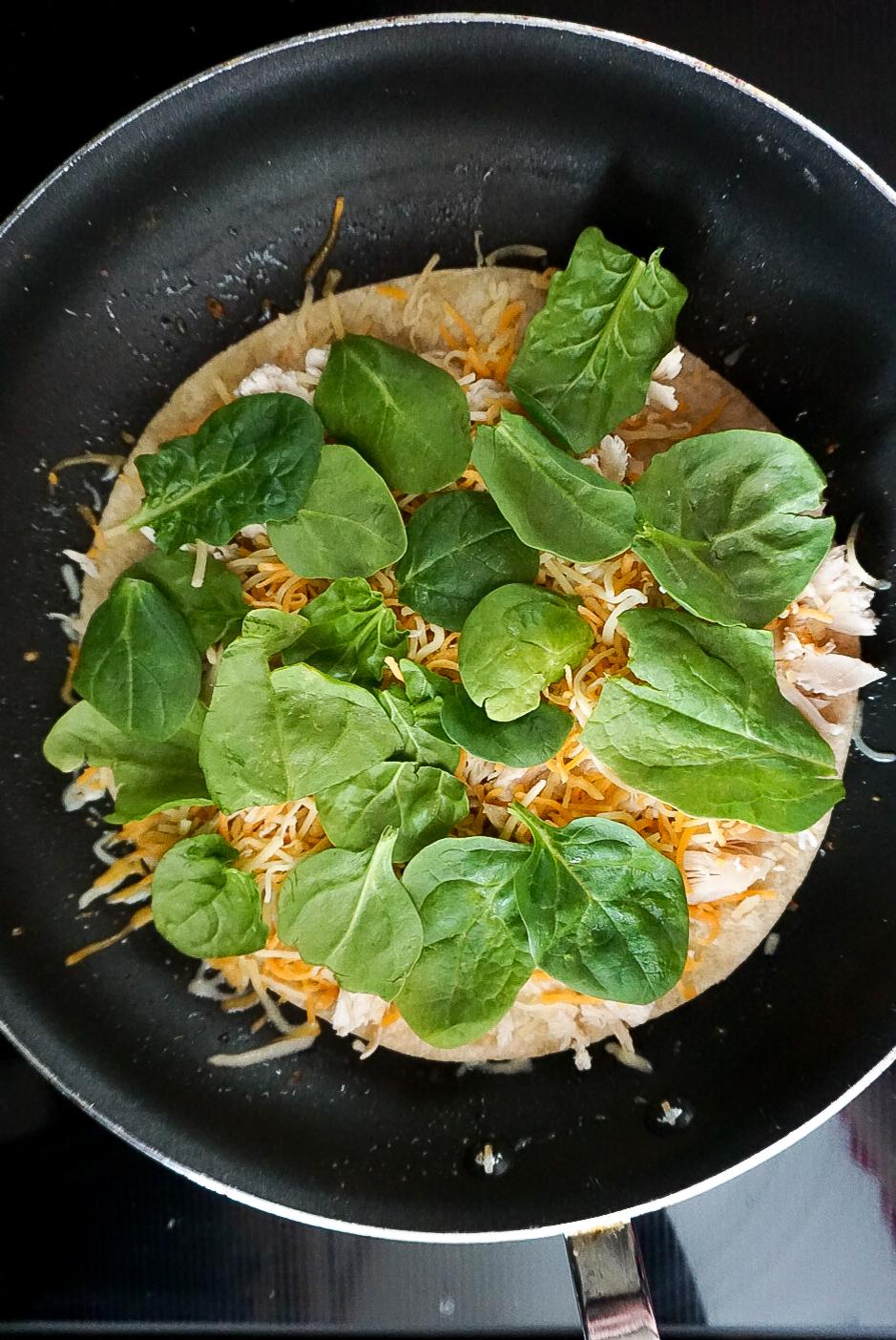 healthy chicken recipes, healthy chicken quesadillas, chicken, cheese, and spinach quesadillas