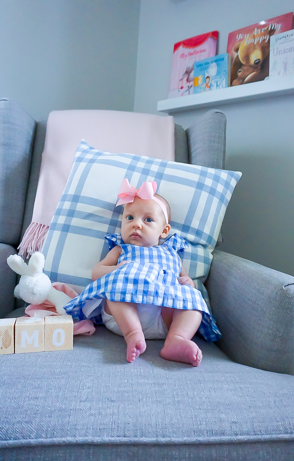 pink hair bow for baby girl, blue gingham pillow, preppy baby girl clothing