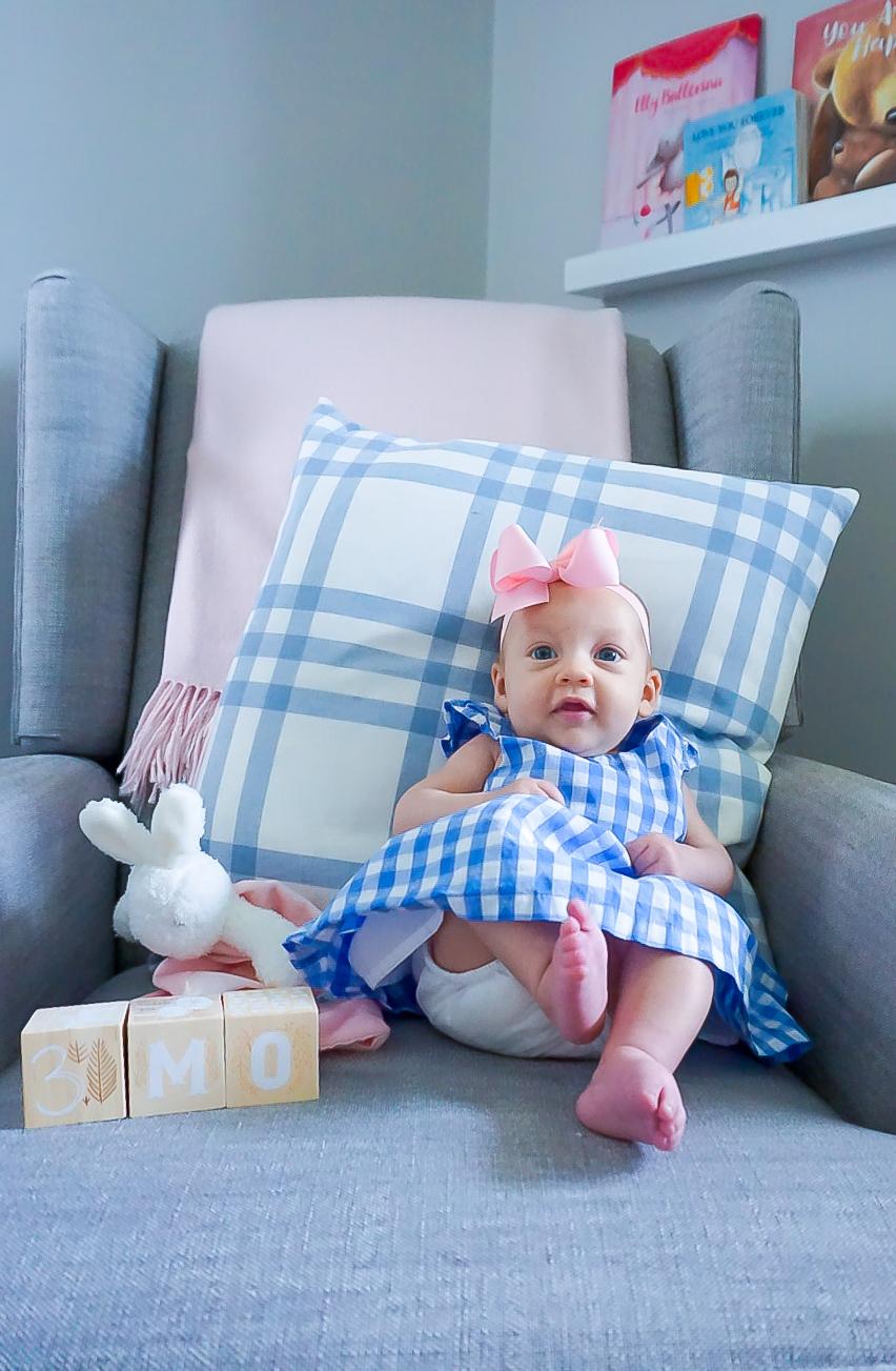 pink and blue nursery, preppy baby girl, preppy nursery