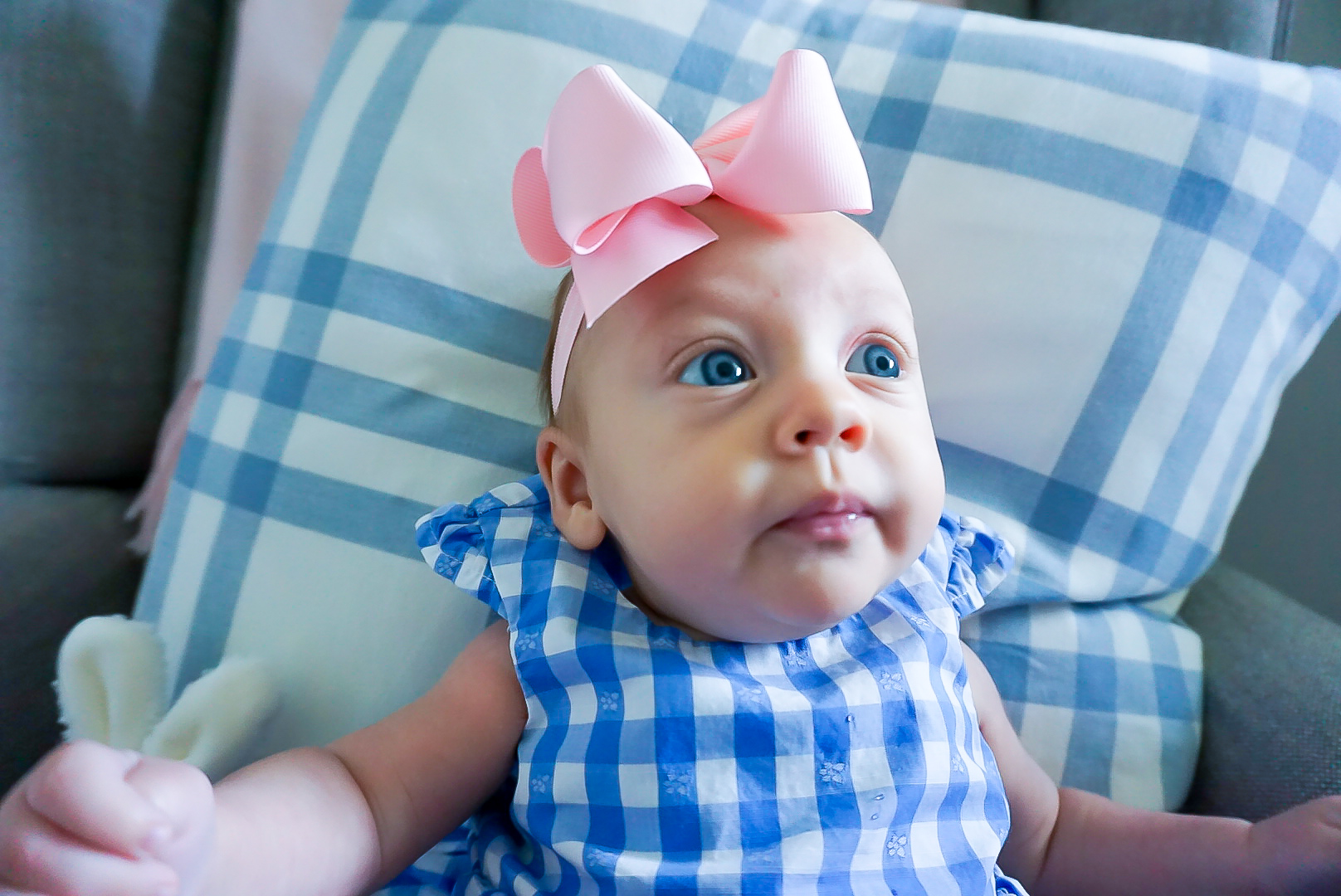 3 month old baby photo shoot, gingham dresses for babies