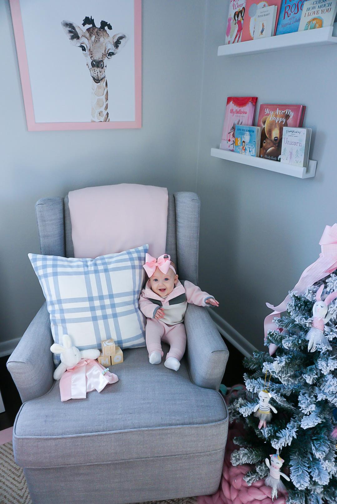 baby girl nursery, preppy baby nursery, southern baby nursery, giraffe nursery painting