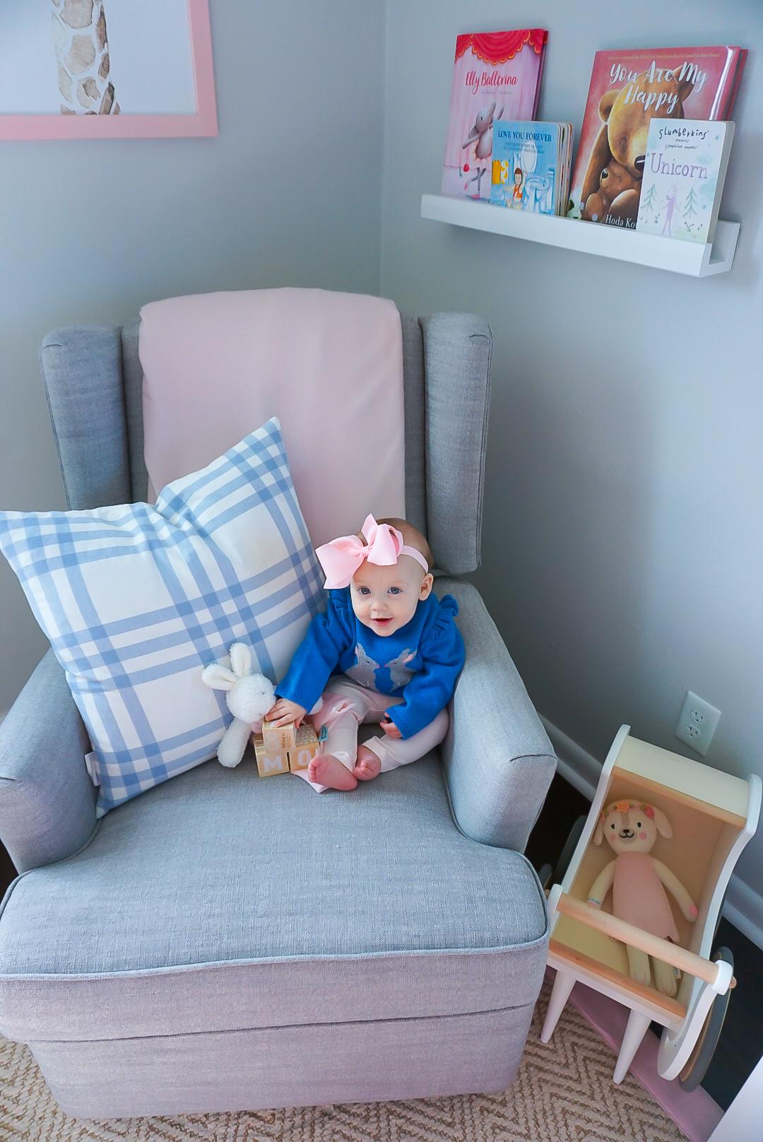 classic baby nursery, baby girl nursery, pink and blue nursery, southern baby nursery