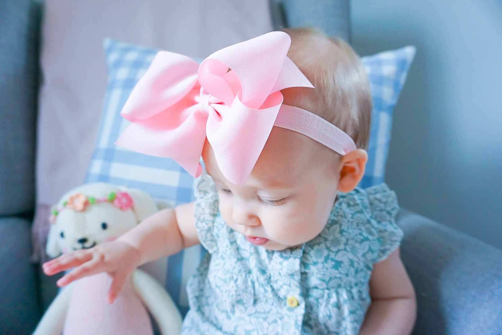 wee ones pink baby bow, floral baby romper, spring 2020 baby clothing, preppy baby clothing