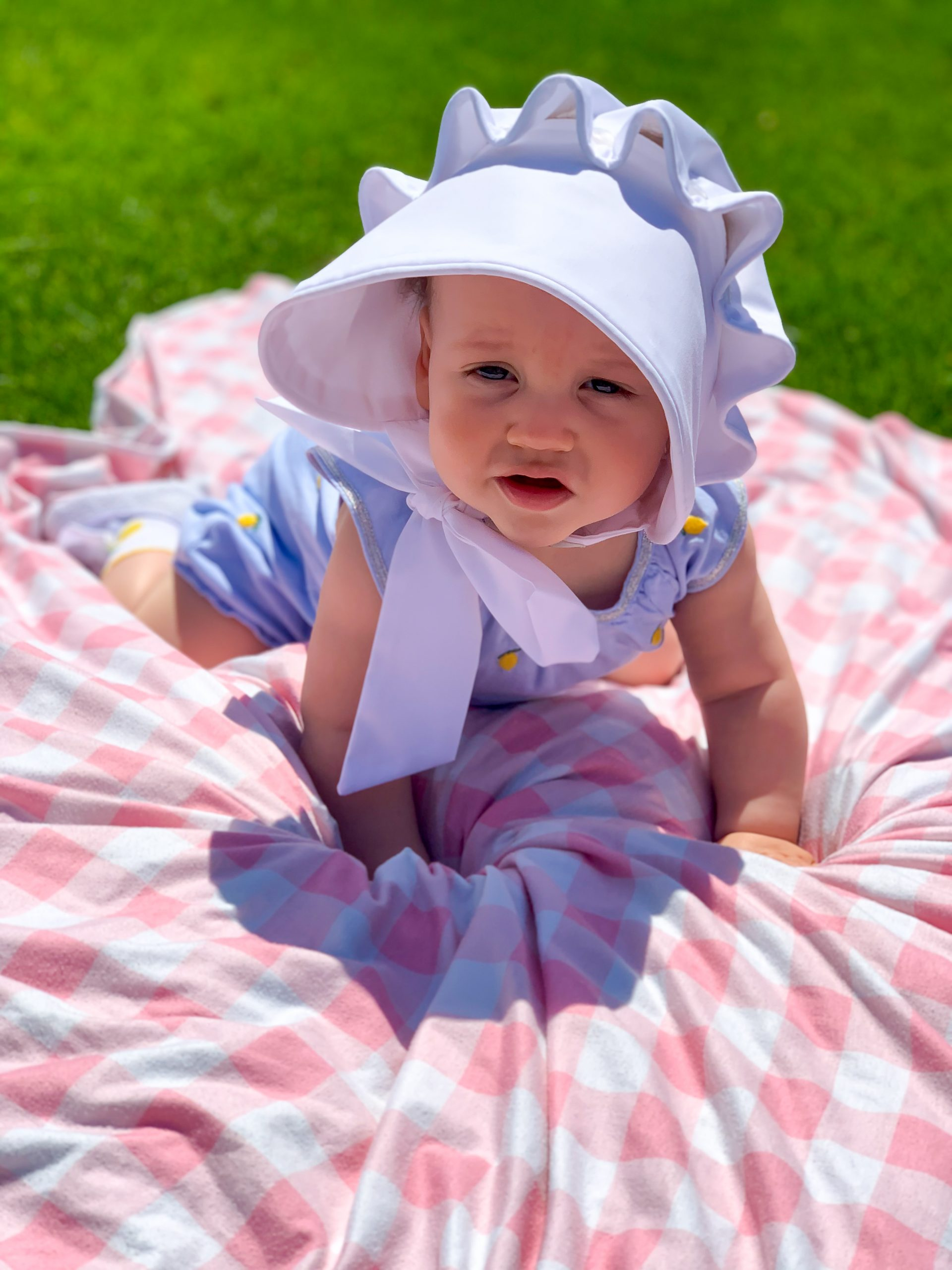 lemon baby bubble, baby girl lemon outfit, The Beaufort Bonnet Company white bonnet
