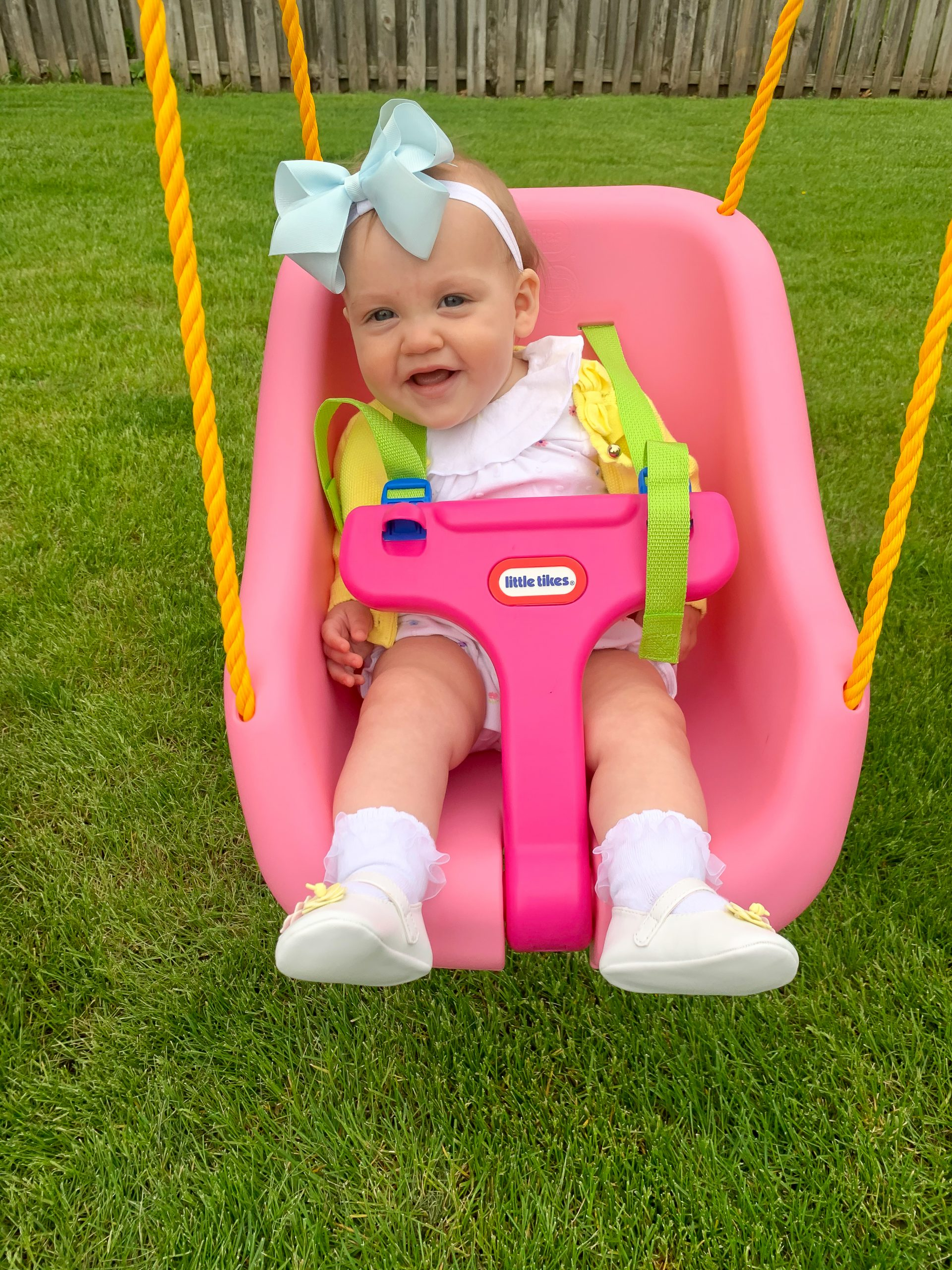 little tikes baby swing, wee ones add a bow, motherhood blog, mom blog