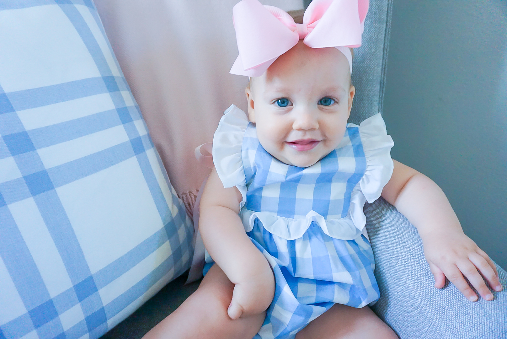 12 month old baby photoshoot, Bella Bliss gingham bubble, blue gingham baby bubble, preppy baby clothing