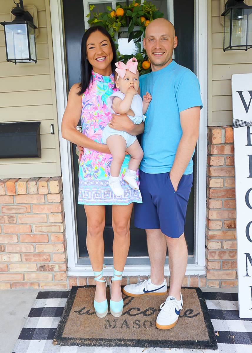 Lilly Pulitzer family photos, first birthday family photos, summer 2020 family photos, preppy family style