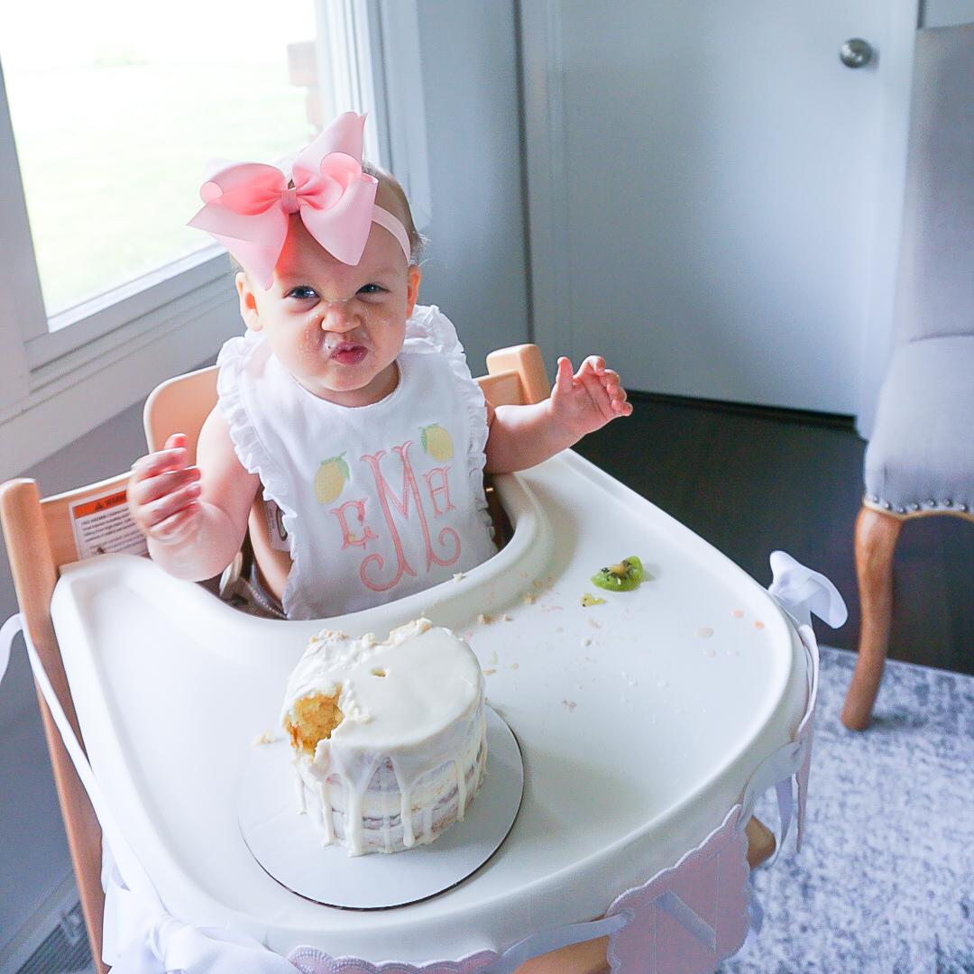 first birthday bib, lemon bib, monogrammed baby bib