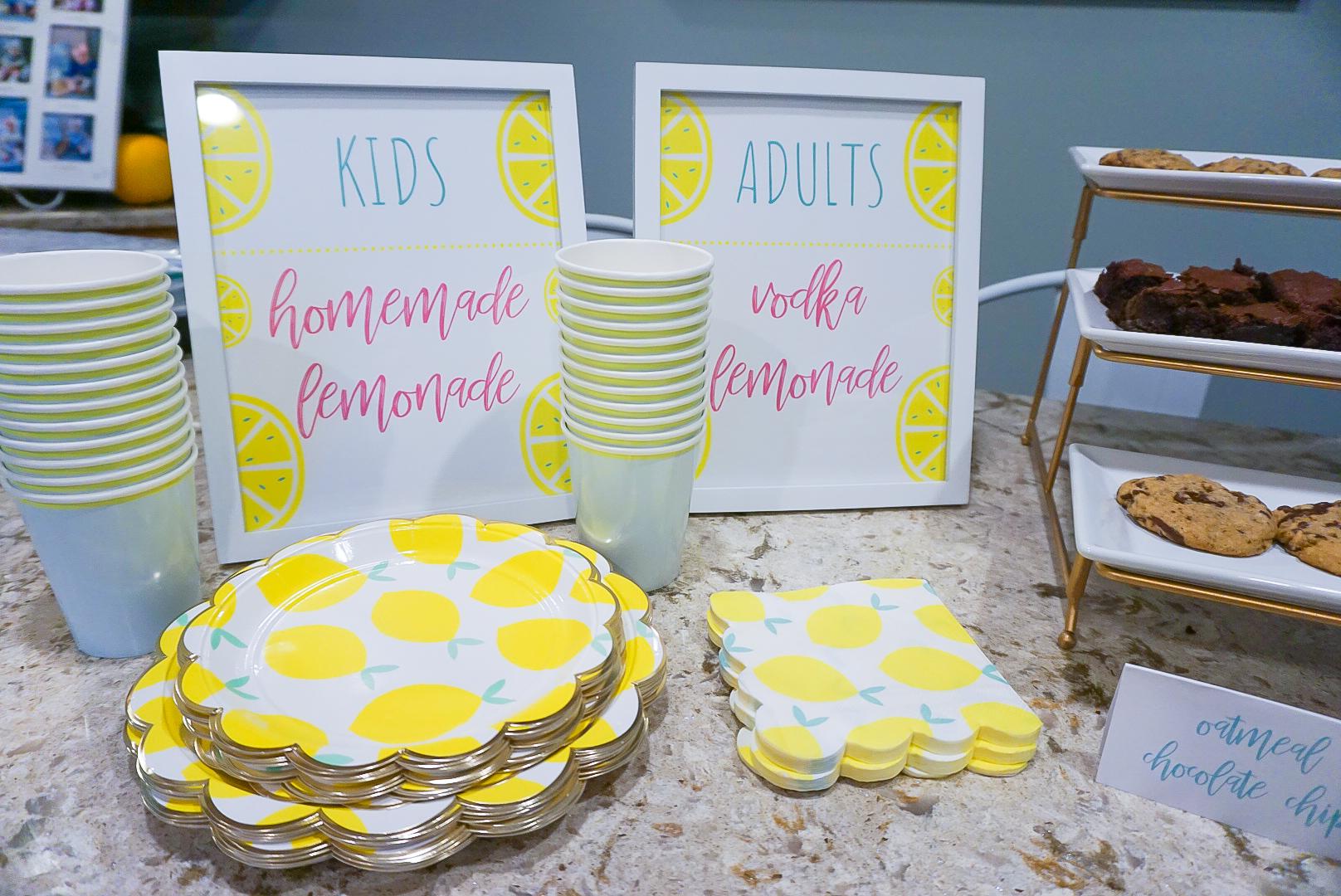 lemon themed party, lemon themed birthday, lemonade birthday stand party