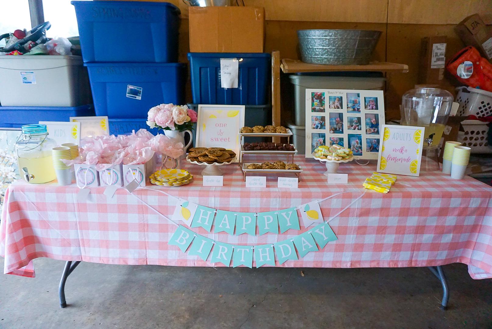 garage birthday party, gingham birthday party, COVID birthday 2020, baby girl's first birthday