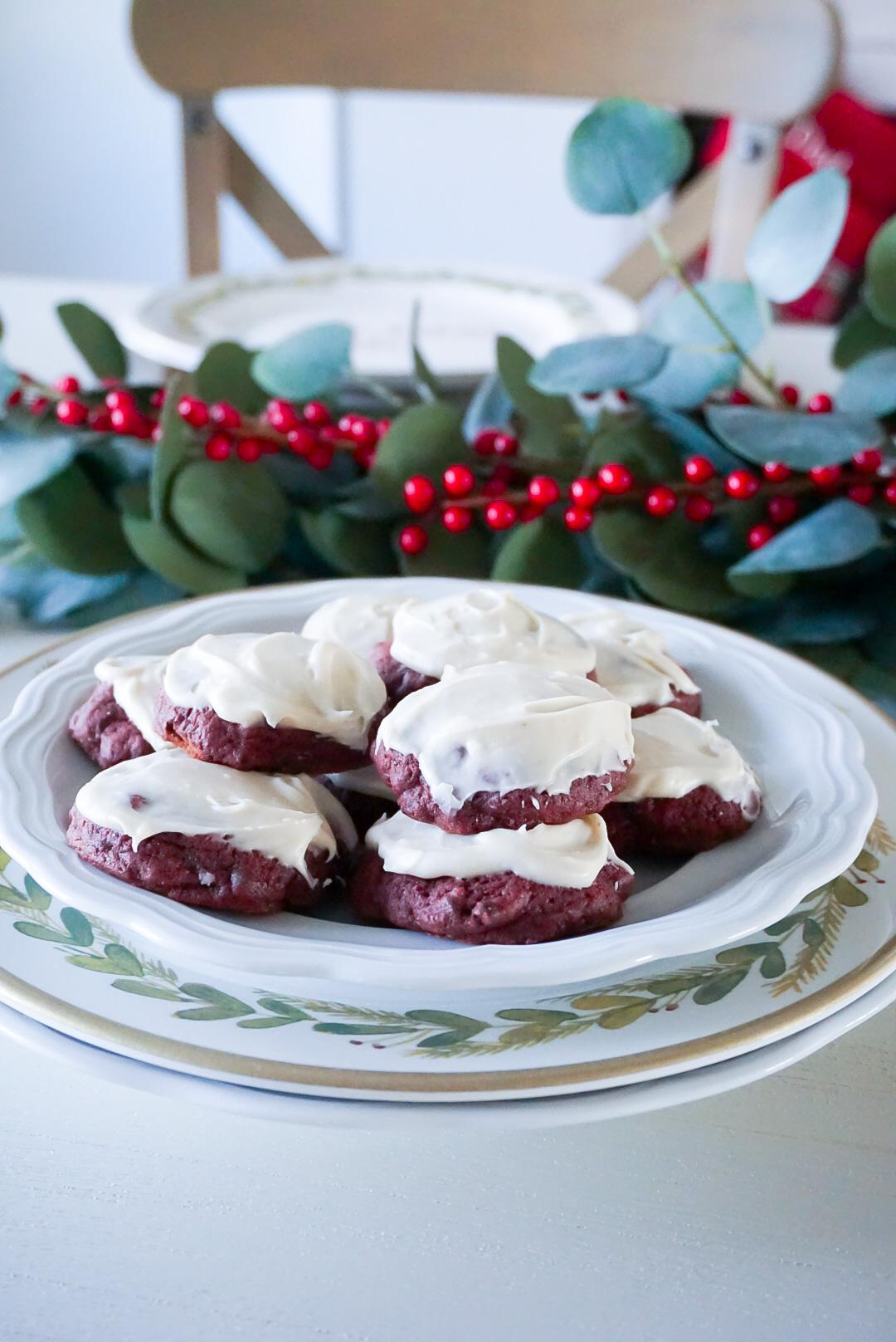dairy-free cookies, dairy-free red velvet cookies, dairy-free desserts