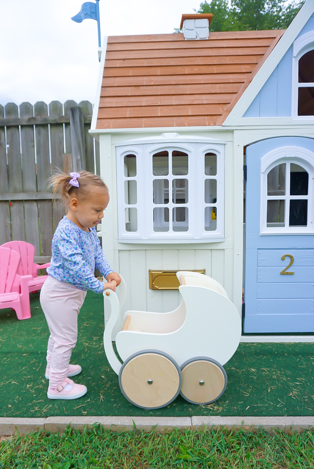 Meg Mason playhouse, Life in a Mason Jar playhouse, wooden toy pram, wooden toy stroller, how to paint a playhouse