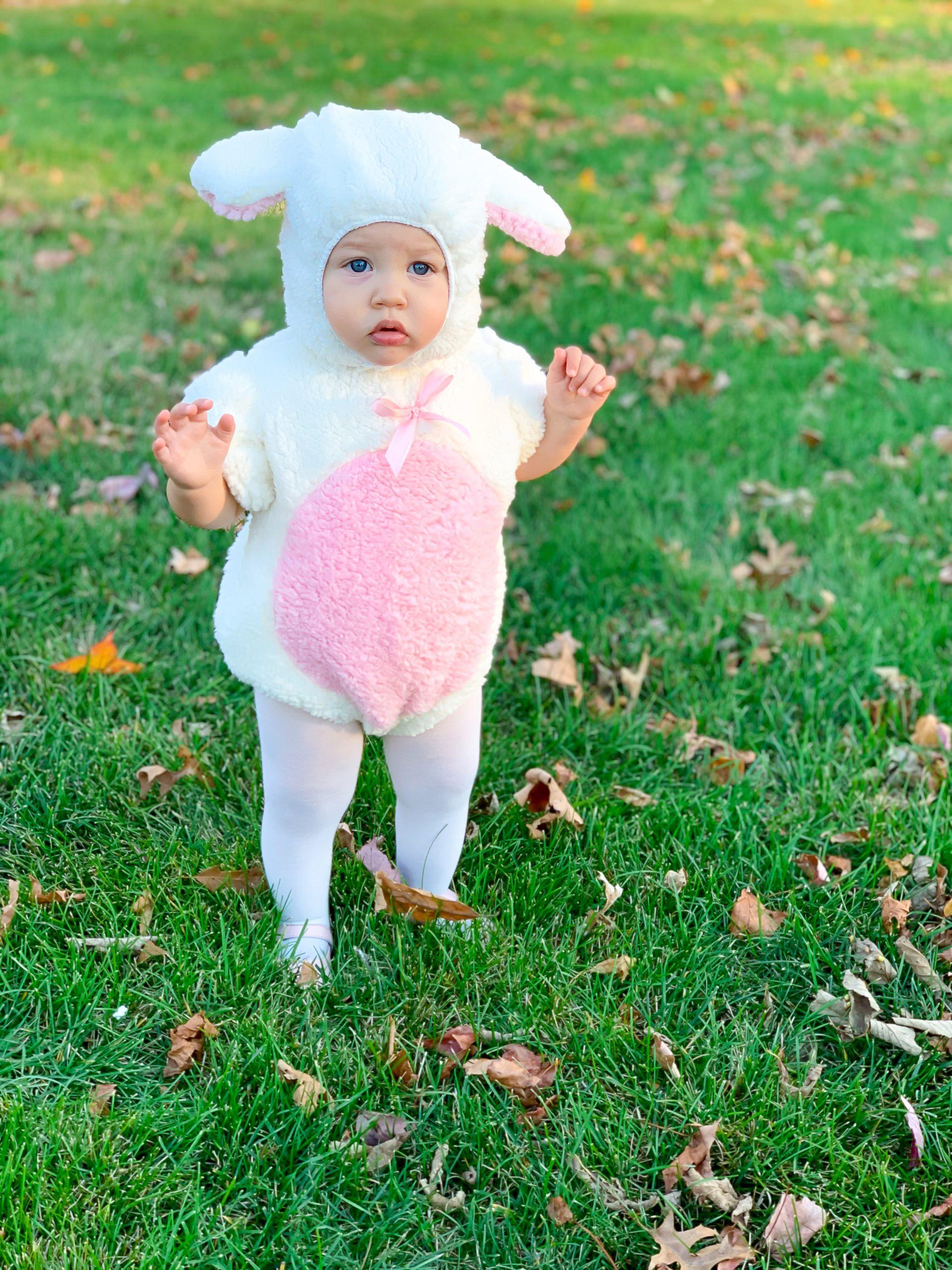 baby girl costume, baby girl Halloween costume, baby lamb costume, girls' lamb costume, cutest baby costumes, pink Halloween costumes
