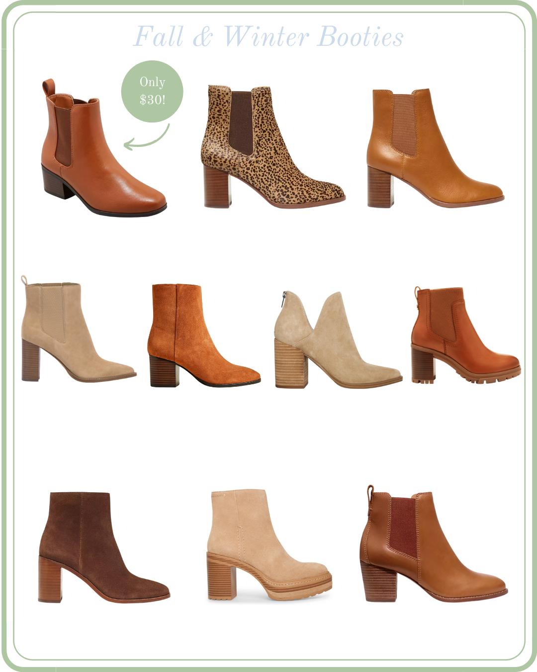 women's fall booties, women's winter booties, tan booties, leopard print booties, brown booties, suede booties, tall booties with heel, classic women's booties